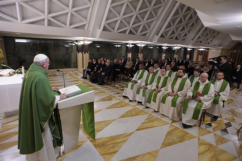 Pope Francis delivered the homily at Mass Jan. 30 in the chapel of his residence, the Domus Sanctae Marthae, at the Vatican. In his homily, the pope said the Gospel makes clear that God will judge people the same way they judge others.