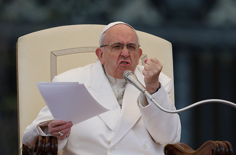 Pope Francis gestures during his general audience in St. Peter's Square at the Vatican April 4.