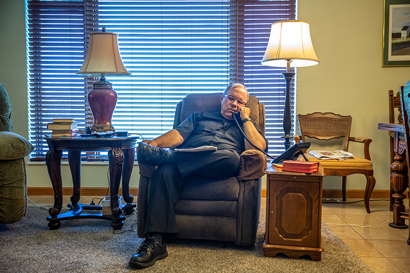 "Father Stephen Bauer is reaching out to his St. Joseph parishioners in Bonne Terre in an old-fashioned way: by making phone calls. He's calling about 20 parishioners per day, ""I'm calling to say, 'Hi. We're here. We're still Church.'"""