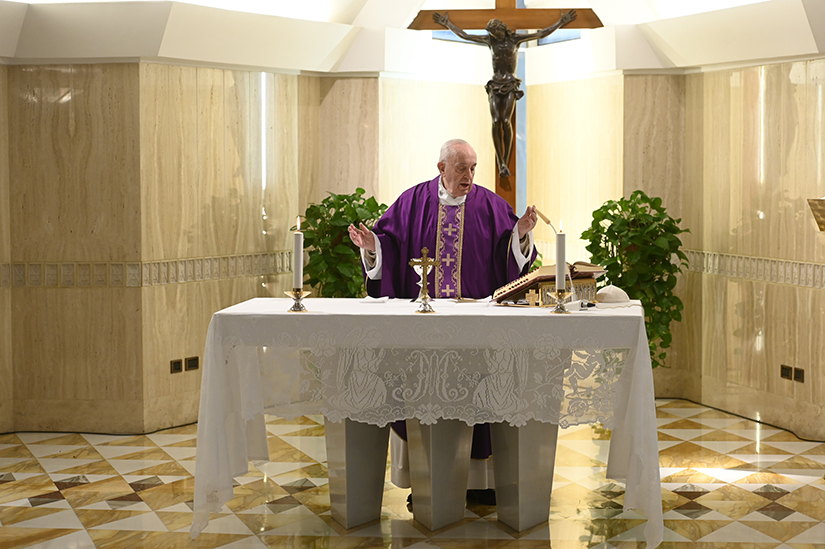 Pope Francis celebrated Mass in the chapel of the Domus Sanctae Marthae at the Vatican March 26.