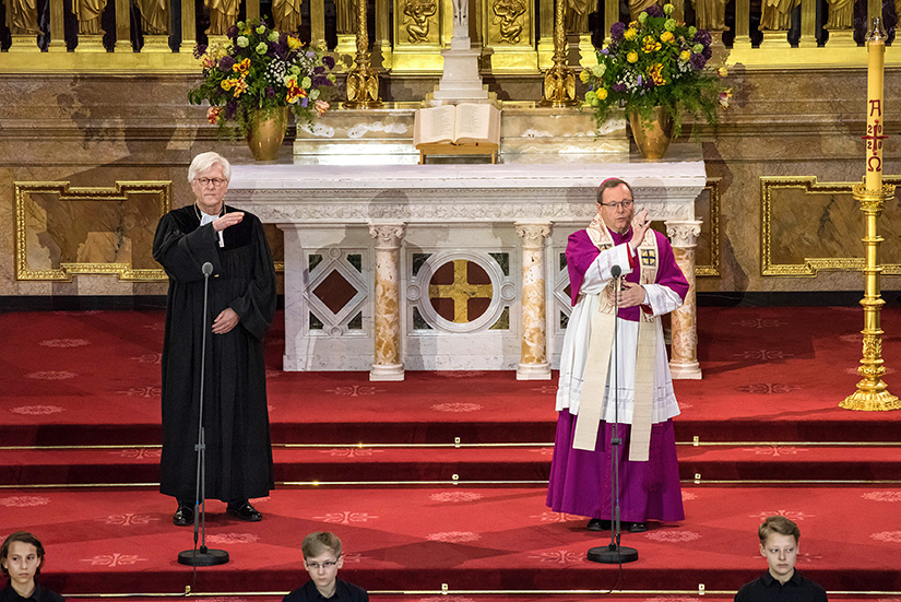 Bishop Heinrich Bedford-Strohm, council president of the Protestant Church in Germany, and Limburg Bishop Georg Batzing, president of the German bishops' conference, led a service to commemorate the 75th anniversary of the end of World War II at the Berlin cathedral May 8.