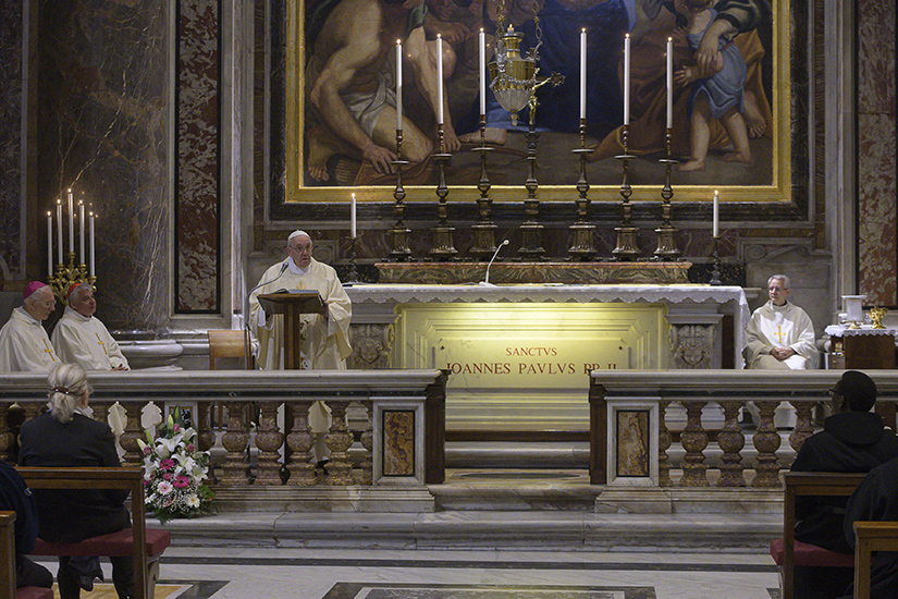 Pope Francis gave the homily at Mass celebrated at the tomb of St. John Paul II in St. Peter's Basilica May 18, the 100th anniversary of the late pope's birth.