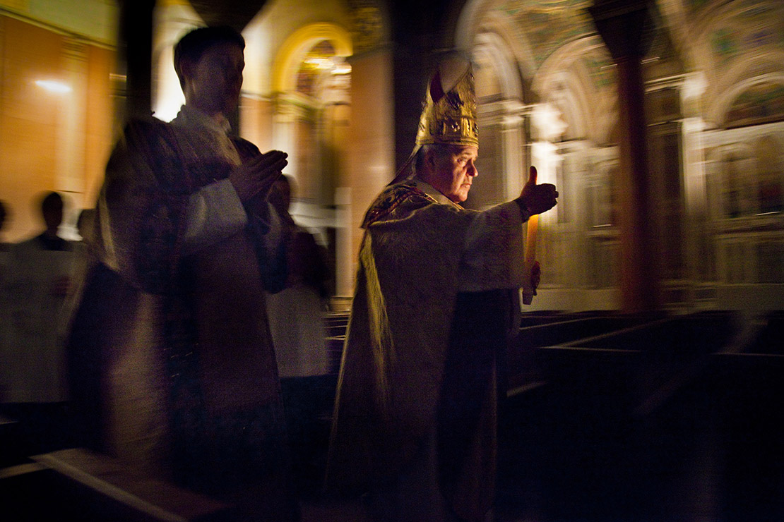 Archbishop Robert J. Carlson processed into the Cathedral Basilica of Saint Louis for Easter Vigil Mass in 2019.