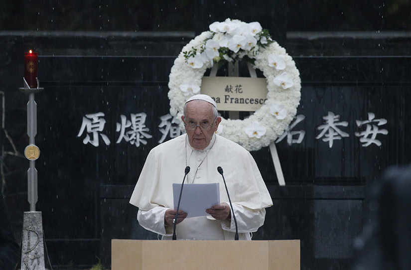 Pope Francis delivered a message about nuclear weapons at Atomic Bomb Hypocenter Park in Nagasaki, Japan, during his pastoral visit to Japan Nov. 24, 2019. The pope has made several calls for nuclear disarmament during his pontificate.