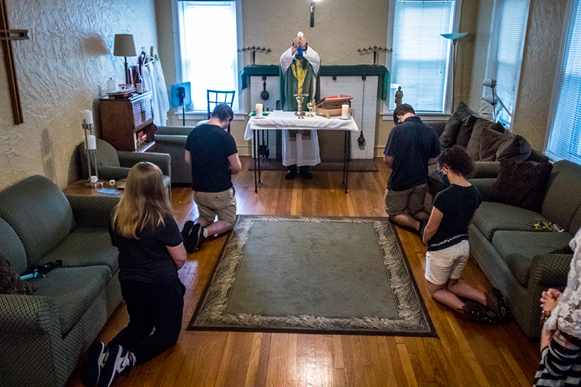 Students at the University of Missouri-St. Louis attended Mass at the Newman Center on campus. The Newman Center, supported by the Annual Catholic Appeal, seeks to be present and provide a faith community for students.