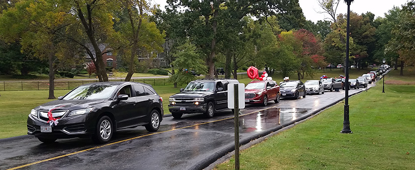 Cars lined up on the front drive at Ursuline Academy so alumnae, current students and friends could wish Thelma Hartnett a happy 100th birthday Oct. 3.