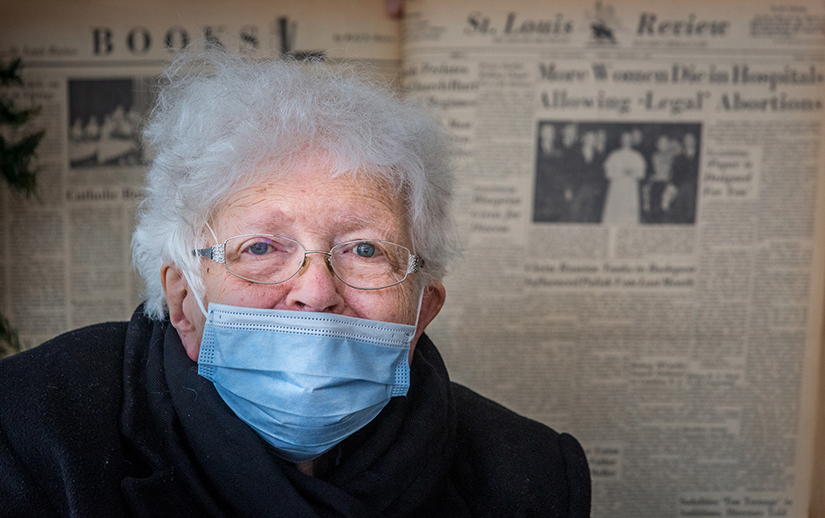 "Mary Gotwals, a parishioner at Our Lady of the Pillar, is perhaps the St. Louis Review's biggest fan. ""I like the Review, especially because I named it,"" she said. Gotwals was one of four winners of a contest in August 1956 to name the new newspaper that succeeded the St. Louis Register."