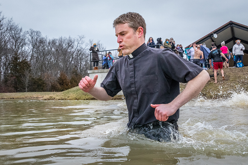 Father Timothy Foy, pastor of St. John the Baptist Parish in Guildahaus, took the polar plunge at Veterans Memorial Park in Union on Jan. 9.