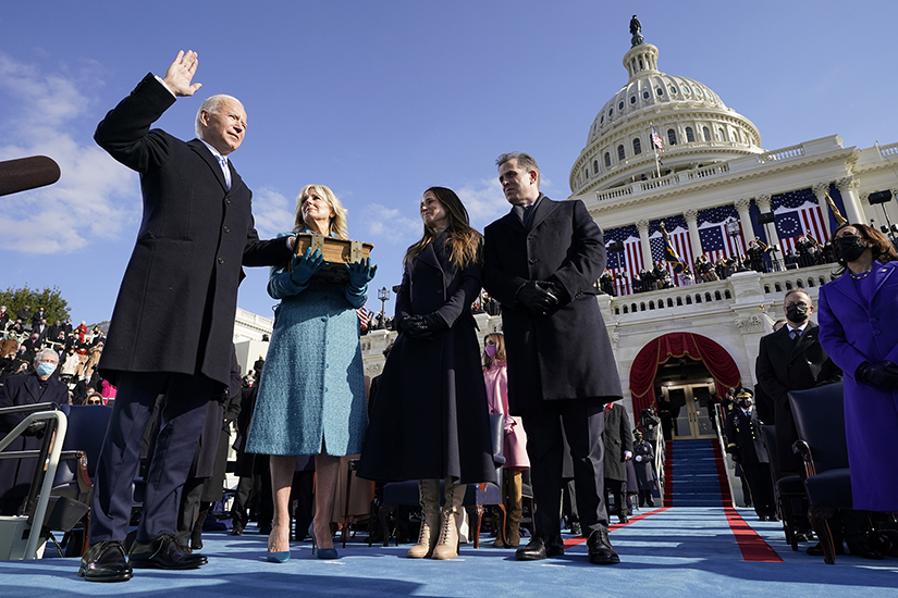 Joe Biden took the oath of office as he was sworn in as the 46th president of the United States by Chief Justice John Roberts. His wife, Jill Biden, held the Bible during the inauguration at the U.S. Capitol Jan. 20.