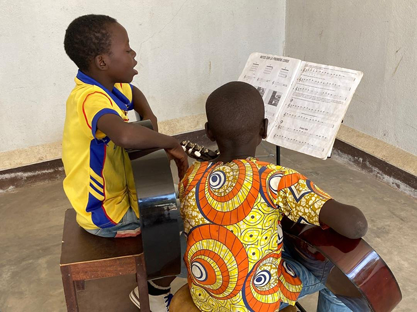 Students are pictured in an undated photo rehearsing at the African Music School in Bouar, Central African Republic.