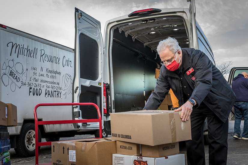 The Order of Malta is assisting agencies serving people in need in St. Louis with a new Malta Mobile Ministry. Brian Abel Ragen, a member of the order, helped load the ministry van March 16.
