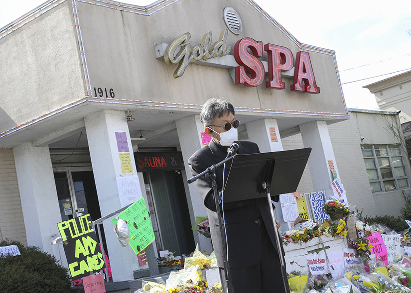 Father Kolbe Chung, pastor at St. Andrew Kim Church in Duluth, Ga., led an interfaith prayer service at Gold Spa on March 21, following the deadly shootings March 16 at three Asian day spas in metro Atlanta.