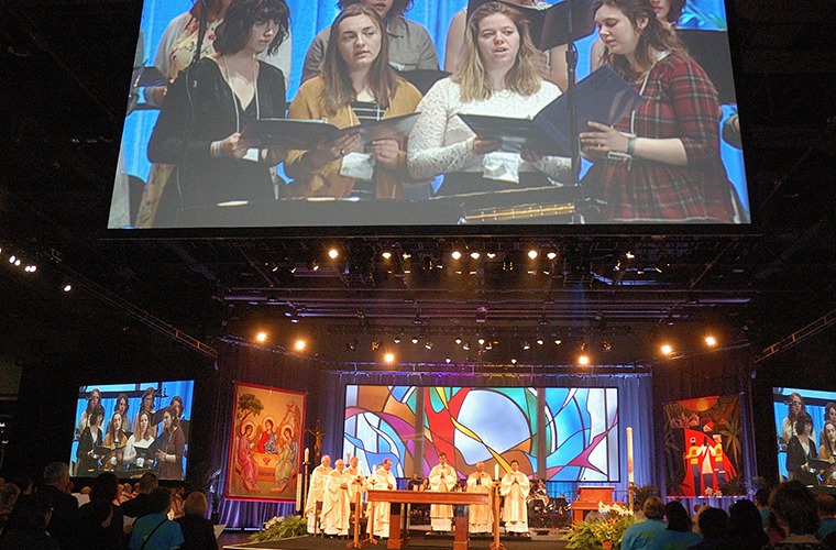 More than 2,000 people attended the April 3 opening Mass at the Duke Energy Convention Center for the 2018 National Catholic Educational Association Convention and Expo held April 3-5 in Cincinnati.