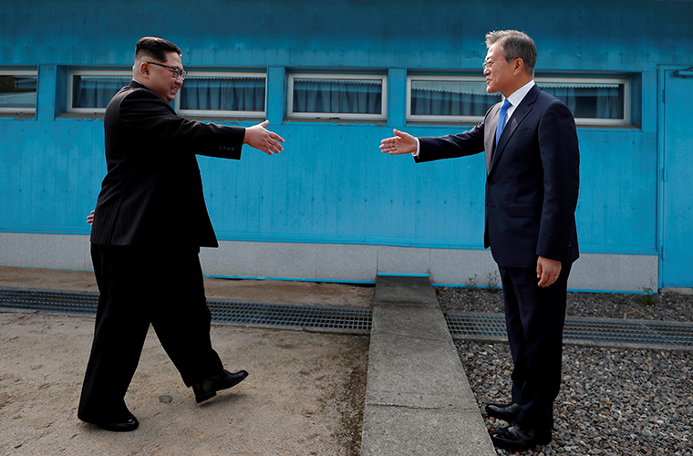 South Korean President Moon Jae-in and North Korean leader Kim Jong Un shook hands inside the demilitarized zone separating the two Koreas April 27.