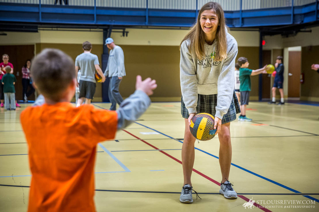 Archbishop May service award winner Anna Schuermann played with Xander Wurman at Team Activities for Special Kids, a nonprofit organization dedicated to enriching the lives of children with special needs by providing them with athletic and social opportunities.