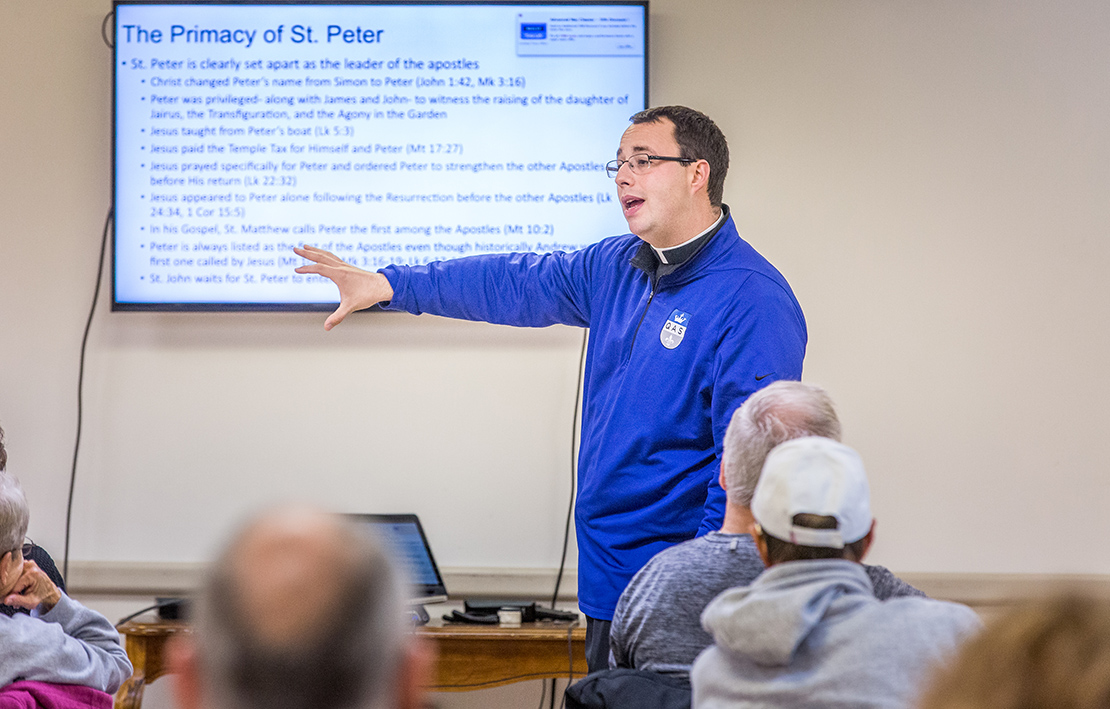 Father Peter Fonseca hosts a Catholicism 101 session each week for anyone in the Queen of All Saints Parish. The event, which is focused on adult faith formation, is timed to the PSR sessions so that parents can attend.