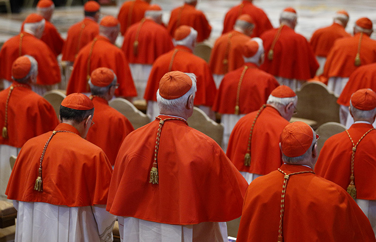 Cardinals attend the Good Friday service led by Pope Francis on March 30 in St. Peter's Basilica at the Vatican. The pope announced May 20 that he will create 14 new cardinals at a June 29 consistory.