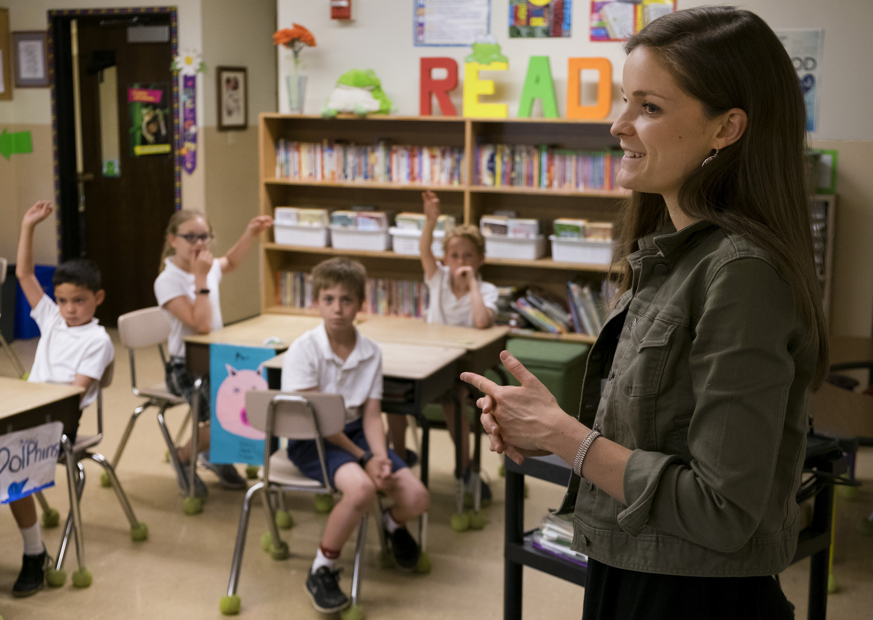 Third-grade teacher Mary Staten instructs her students during class at Incarnate Word School in Chesterfield May 21. Staten began using the Examen, a prayer technique that focuses on reflection on the events of the day in order to detect God's presence and discern His direction. She introduced the prayer to her students as part of her participation in the Contemplative Leaders in Action program, sponsored by the Office of Ignatian Spirituality of the Maryland and USA Northeast Provinces of the Society of Jesus.