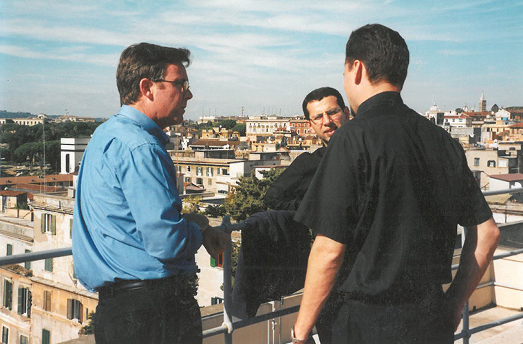 Then-seminarians, from left, Don Kettle, Ragheed Ganni and James Mason visited at the Pontifical Irish College in Rome, circa 1999 or 2000. Father Mason keeps this photo and a holy card of Father Ganni in his breviary.