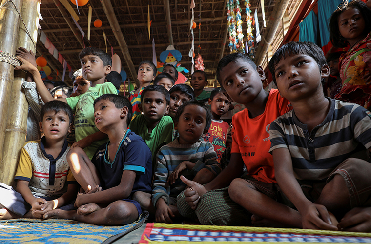 Rohingya refugee children gathered in a playground Dec. 18 at the Kutupalong refugee camp near Cox's Bazar, Bangladesh. The plight of Rohingya refugees was mentioned in the U.S. State Department's annual International Religious Freedom Report.