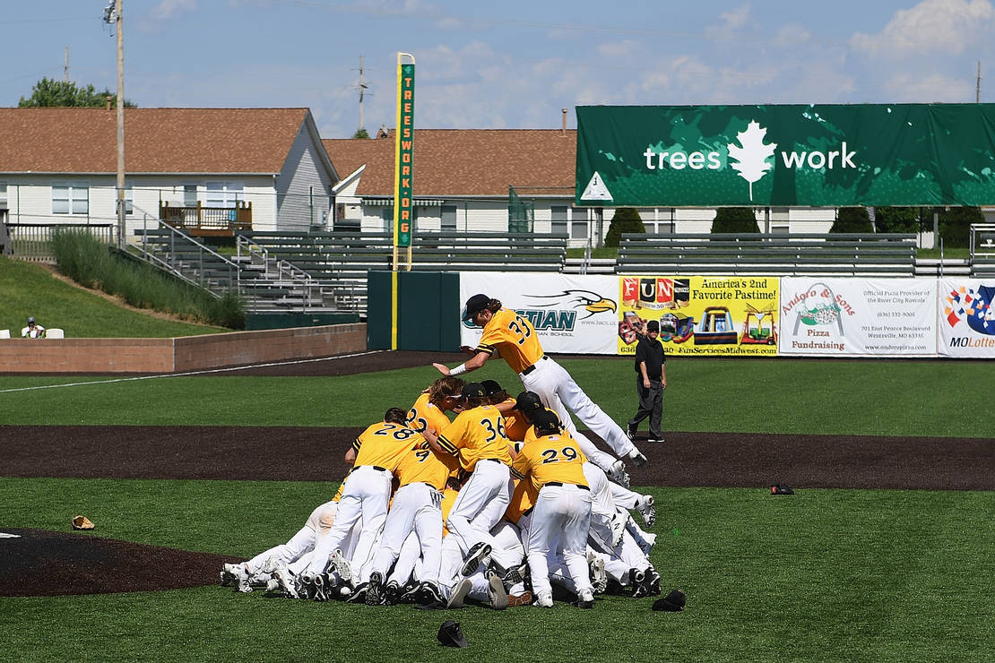 Members of the St. John Vianney High School baseball team celebrated after defeating Columbia Hickman High School to win the MSHSAA Class 5 baseball state championship on June 1 at Car Shield Field in O'Fallon. Vianney won the title after losing in the semifinals last season.
