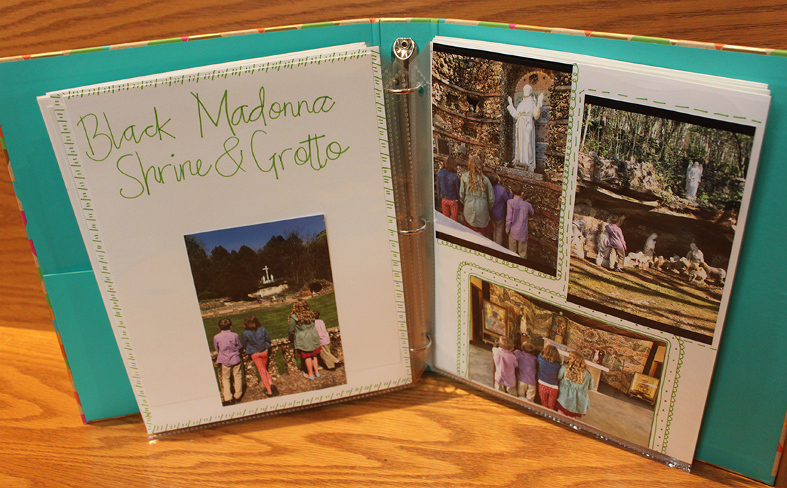 A visit to the Black Madonna Shrine and Grottos in Eureka was chronicled in two pages in a scrapbook the Blanner family created of their visits to various churches and shrines. The family was participating in the pilgrimage challenge issued by the faith development committee of St. Margaret Mary Alacoque Parish.